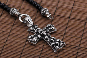 African Glass Beads Skulls on a Cross Pendant Necklace