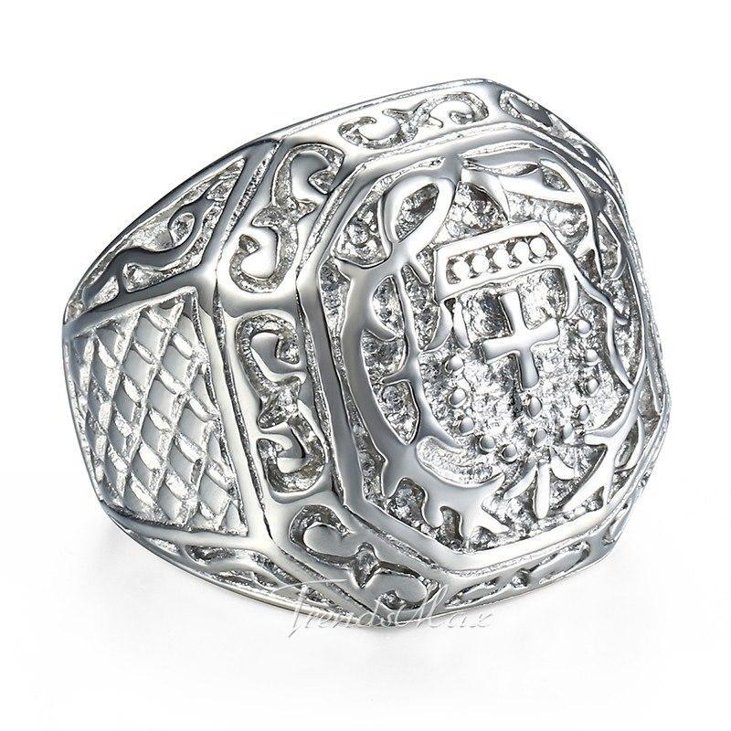 Silver Toned Stainless Steel with a Carved Cross and Crown Pattern Men's Wedding Band