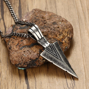 Stainless Steel Vintage Spearhead Pendant Necklace for Men