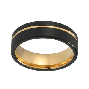 8mm Black Brushed Matte Offset with Gold Plated Groove Tungsten Carbide Ring - Innovato Store