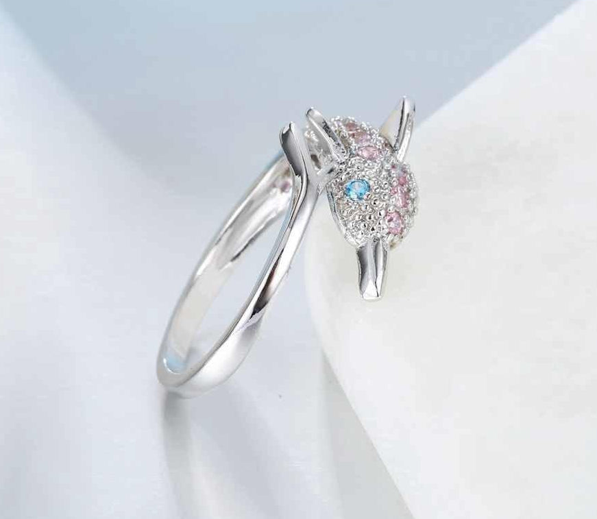 Pink Zircon Dolphin Ring with Australian Blue Crystal Eyes 925 Sterling Silver