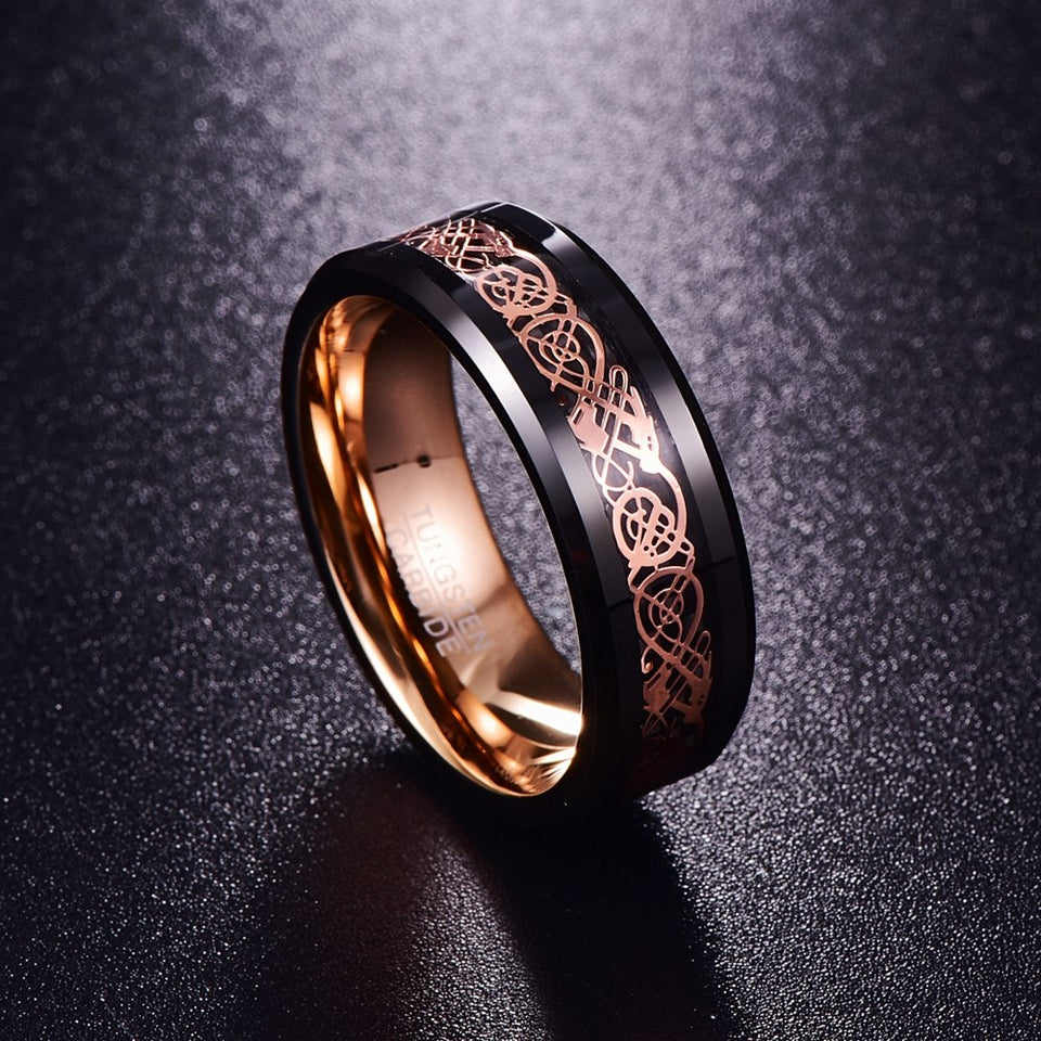 Double Inlay Black Tungsten Carbide with Dragon Celtic Pattern Wedding Ring - Innovato Store