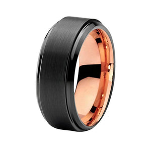 Unisex Two Tone Brushed Black Rose Gold Tungsten Wedding Ring