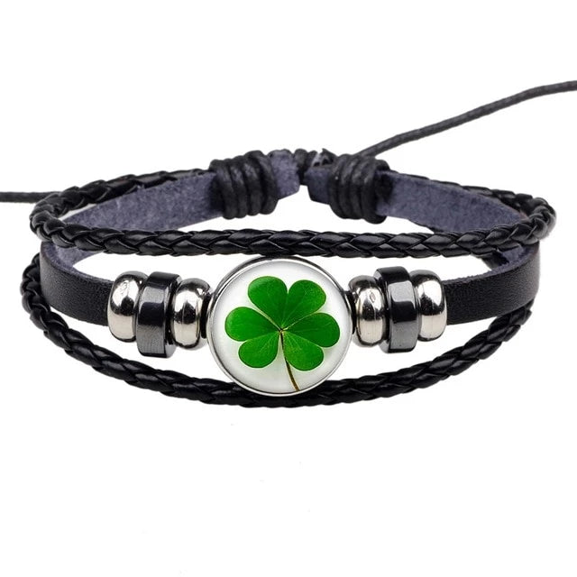 Lucky Clover Multi Layer Black Leather Bracelet