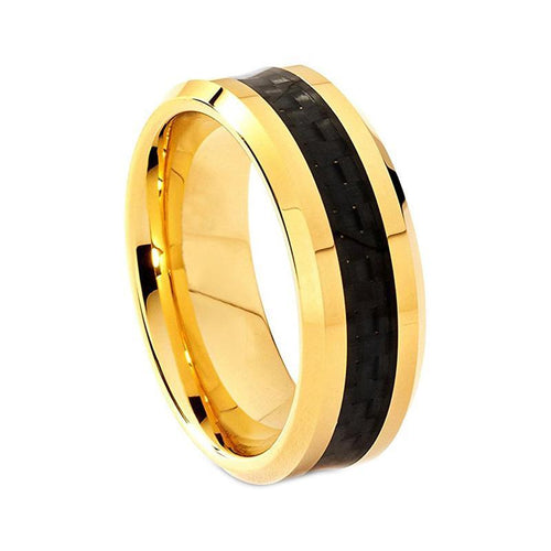 Black Carbon Fiber Inlay with Gold Coated Tungsten Carbide Ring - Innovato Store
