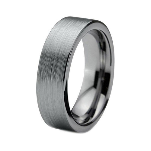 6mm Unisex Pipe Cut Brushed Finish Tungsten Carbide Rings