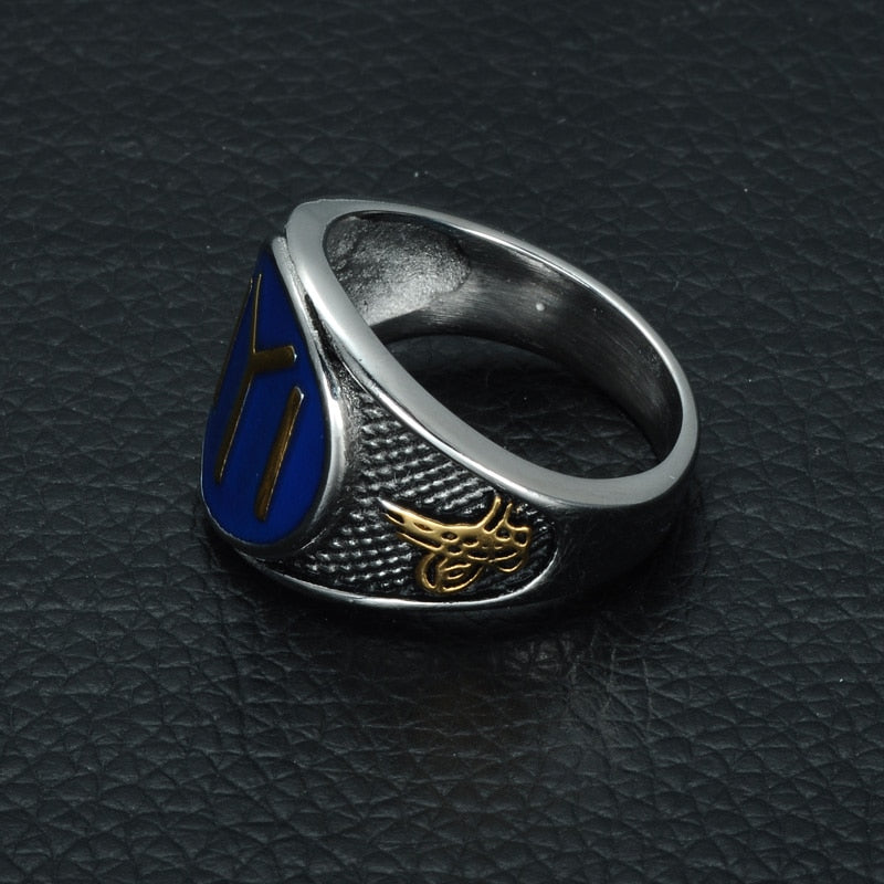16.5mm Silver, Gold, Black, and Blue Accented Stainless-Steel Ottomans Seal Kayi Ertugrul Men's Wedding Band