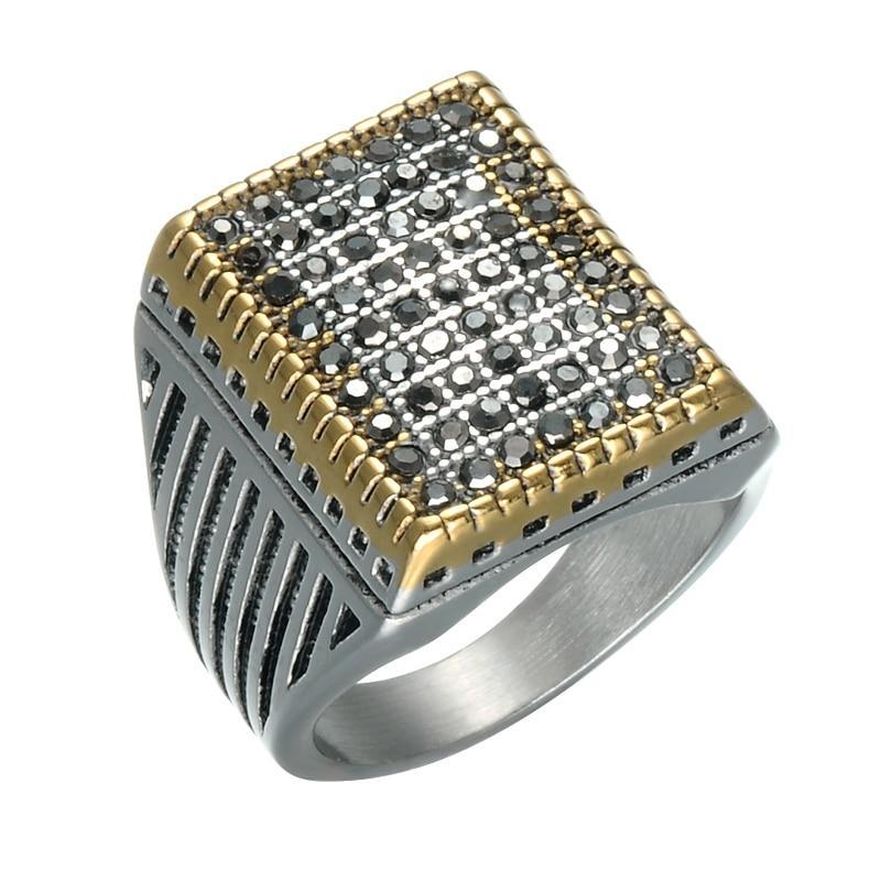 Triple Toned Vintage Stainless Steel Signet Square Men's Wedding Band