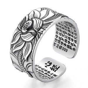 925 Sterling Silver Lotus Flower Adjustable Ring