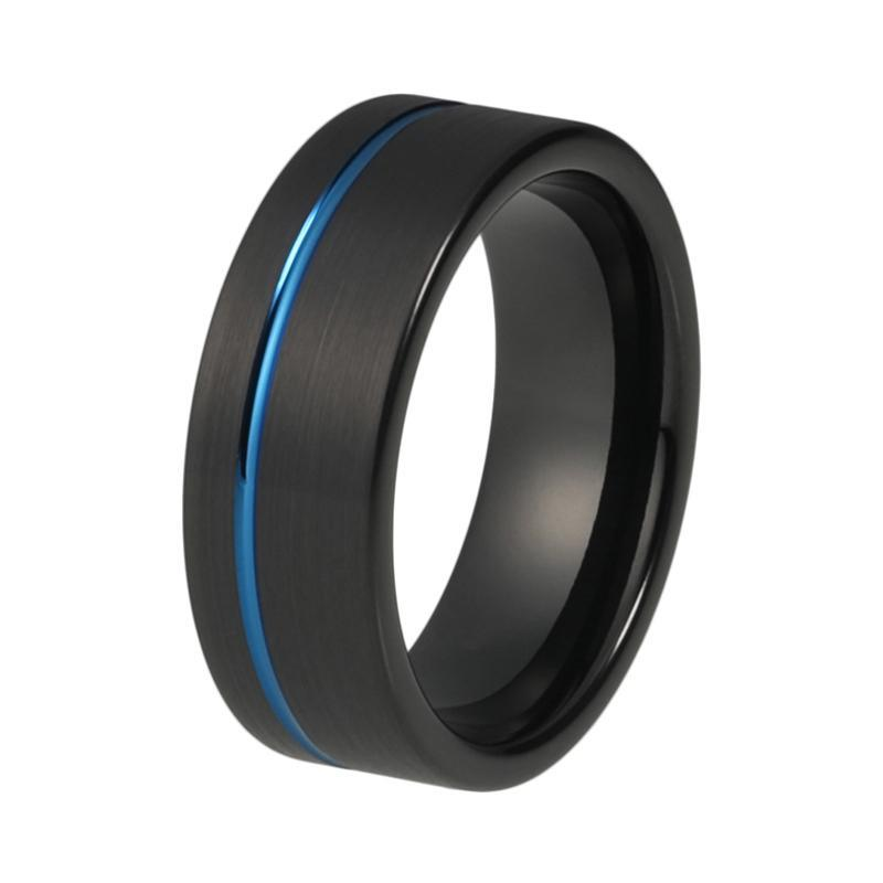 Men's 8mm Blue & Black Tungsten Carbide Matte Finish Offset Line Grooved Pipe Cut Wedding Band - Innovato Store