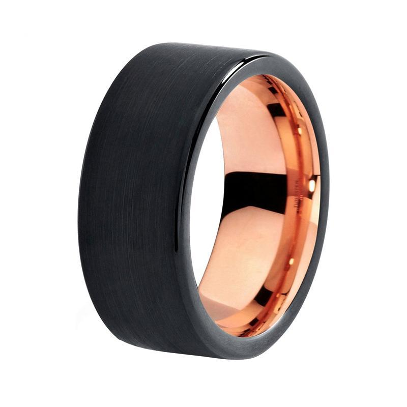 8mm Black Brushed Matte Tungsten with Smooth Edges and Rose Colored Tungsten Inner Ring - Innovato Store