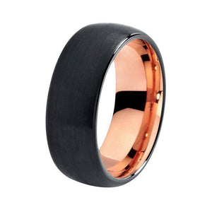 Black Tungsten Carbide Brushed Matte Center with Rose Colored Gold Coated Wedding Ring - Innovato Store