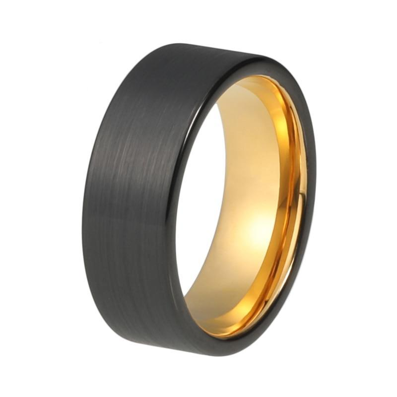 8mm Black Brushed Matte Tungsten Carbide with Yellow Gold Coated Surface Wedding Ring - Innovato Store