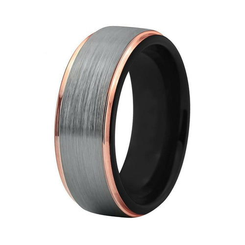 8mm Unisex Black and Rose Gold-Coated Tungsten Carbide Wedding Ring
