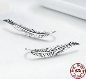 925 Sterling Silver Feathers Wing Elf Stud Earrings