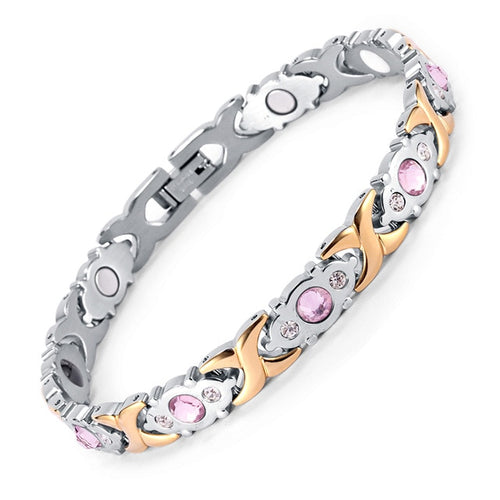 Silver & Rose Gold Pink Stone Magnetic Bracelet for Women
