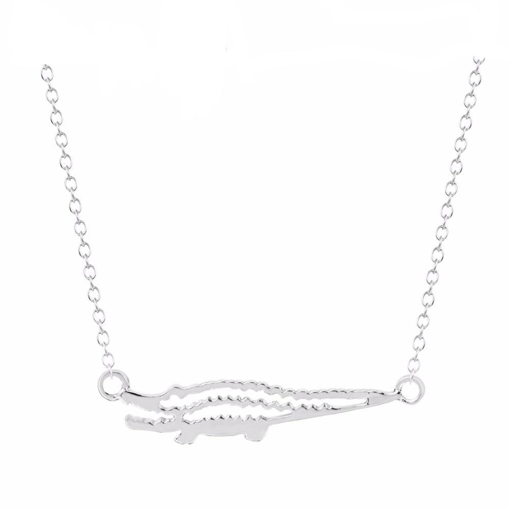 Silver Crocodile Shaped Pendant Charm Necklace Women's Jewelry