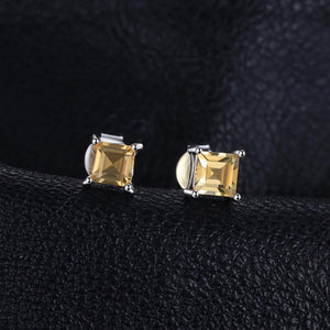 Square 0.6ct Natural Citrine Sterling Silver Stud Earrings 925 Sterling Sterling Silver
