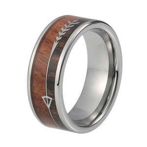 Two-Tone Wood Inlay with Ingrained Arrow Design Silver Coated Tungsten Carbide Wedding Ring