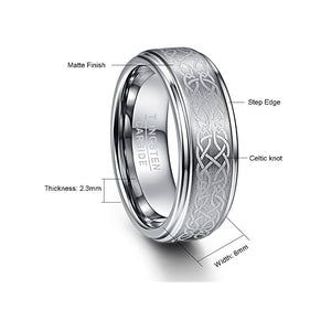8mm Celtic Knot Brushed Tungsten Wedding Band