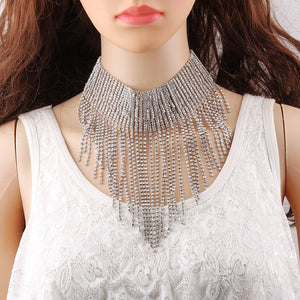 Multi-layer Crystal Statement Choker Necklace
