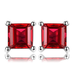925 Sterling Silver Natural Red Garnet Stud Earrings - Innovato Store