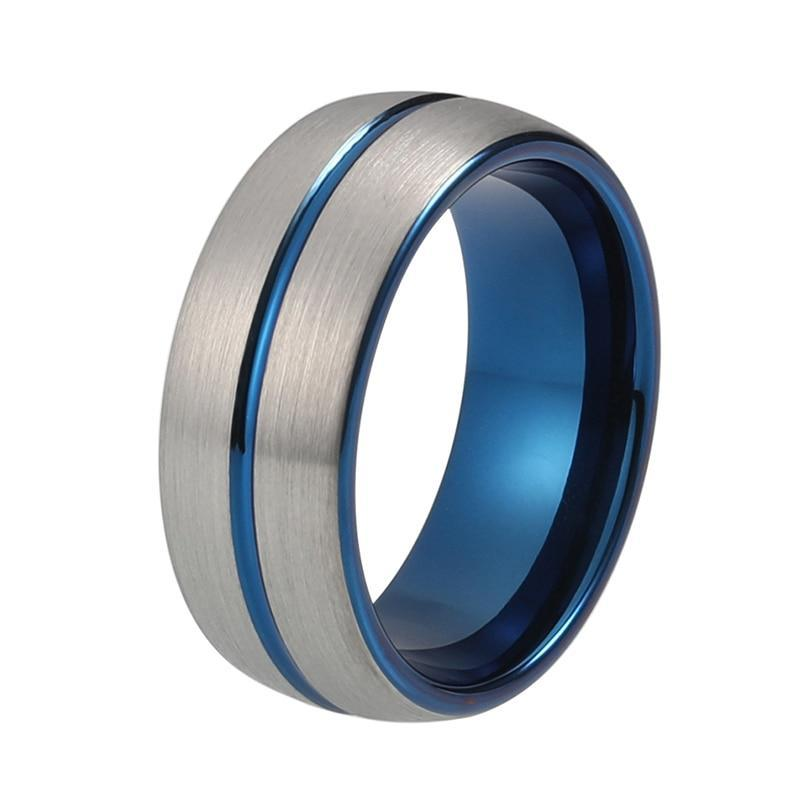 Royal Blue Silver Grey Coated Tungsten Carbide Brushed Matte Grooved stripped Center Wedding Band