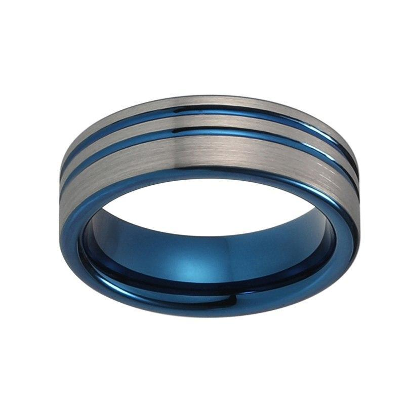 8mm Silver Brushed Matte Offset Surface with Blue Groove Tungsten Carbide Rings - Innovato Store
