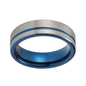6mm Brushed Silver Offset Tungsten Ring with Blue Groove Pattern Wedding Ring - Innovato Store