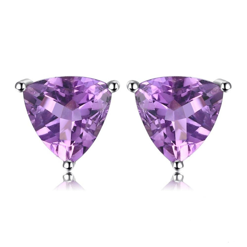 1.9ct Natural Purple Amethyst Stud Earrings 925 Sterling Silver - Innovato Store
