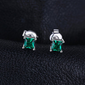 0.6ct Square Shaped Green Emerald Stud Earrings 925 Sterling Silver - Innovato Store