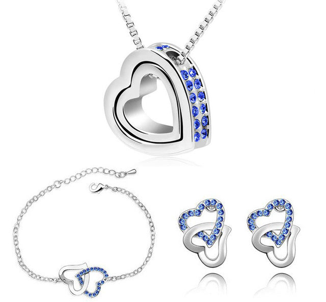 Rhinestone Double Heart Necklace, Bracelet & Earrings Jewelry Set
