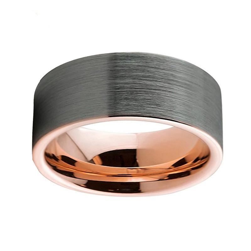 Rose Gold Plated Tungsten Carbide Wedding Band Ring with Silver Brushed Top