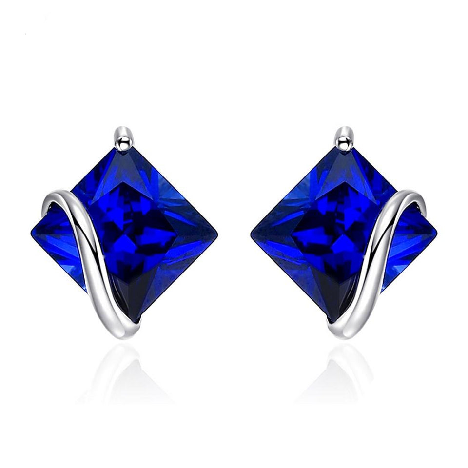 2.8ct Classic Sapphire Stud Earrings 925 Sterling Silver - Innovato Store