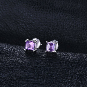 Natural Purple Amethyst Earrings Stud 925 Sterling Silver