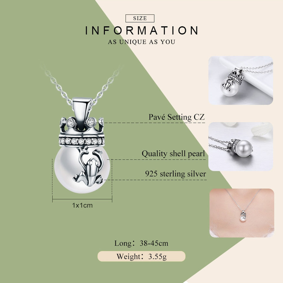 925 Sterling Silver Crown of Frog Prince Pendant Necklace for Women