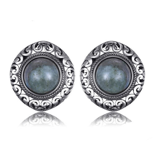 2.4ct Genuine Labradorite Carved Stud Earrings 925 Sterling Silver - Innovato Store