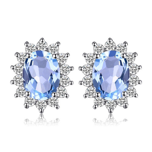 925 Sterling Silver Topaz Gemstone Stud Earrings - Innovato Store