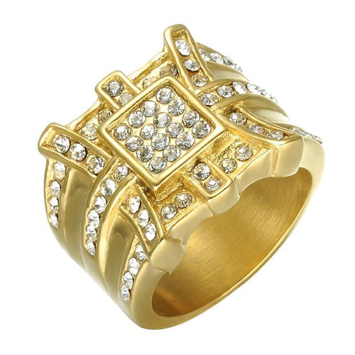 Hip Hop Gold Toned Titanium with Crystals Men's Party Wedding Band