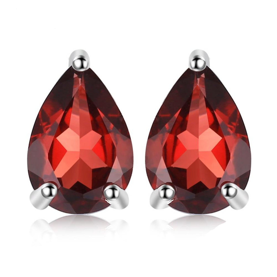 1.8ct Water Drop Natural Garnet Solid Stud Earrings 925 Sterling Silver - Innovato Store