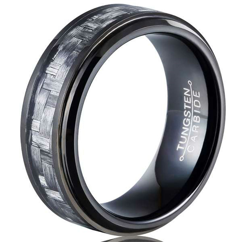 8mm Black Tungsten Carbide Men's Ring with Carbon Fiber Inlay for Men - Innovato Store