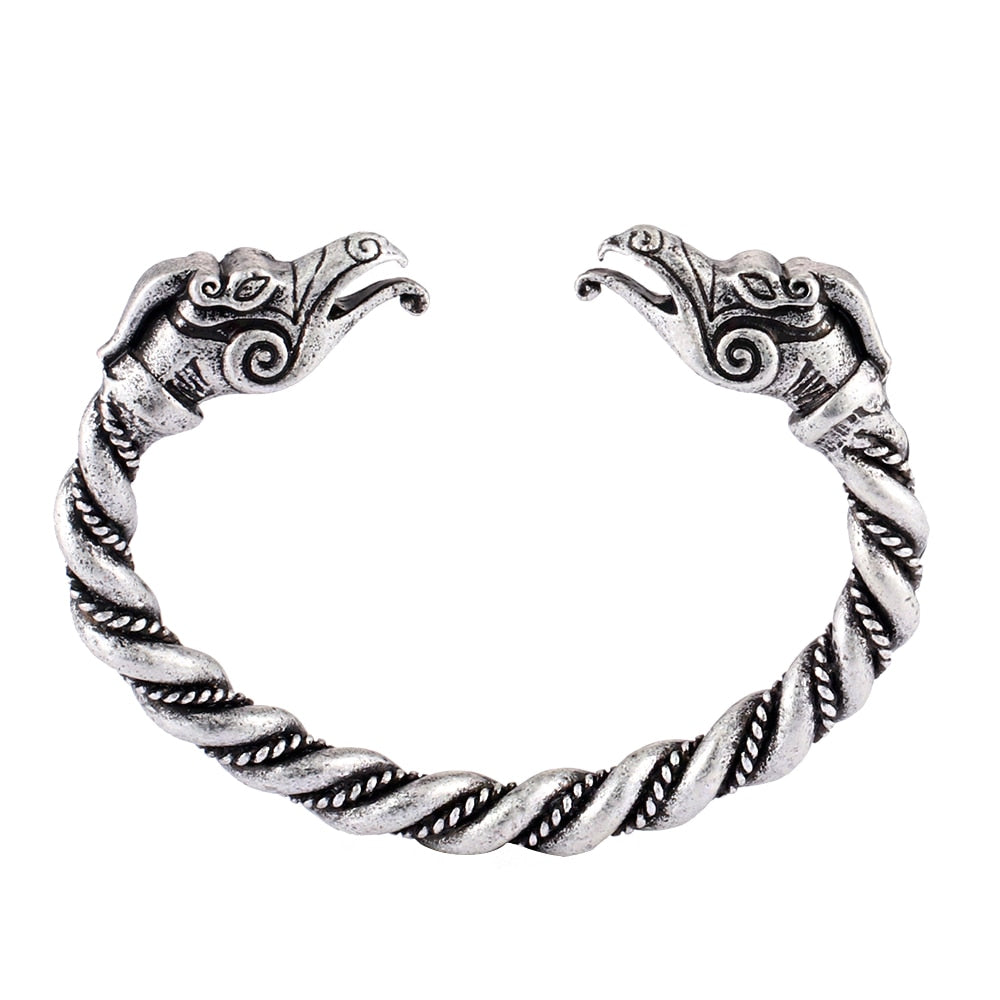 Vintage Silver Plated Handmade Norse Viking Double Dragon Heads Twisted Chunky Arm Bracelet