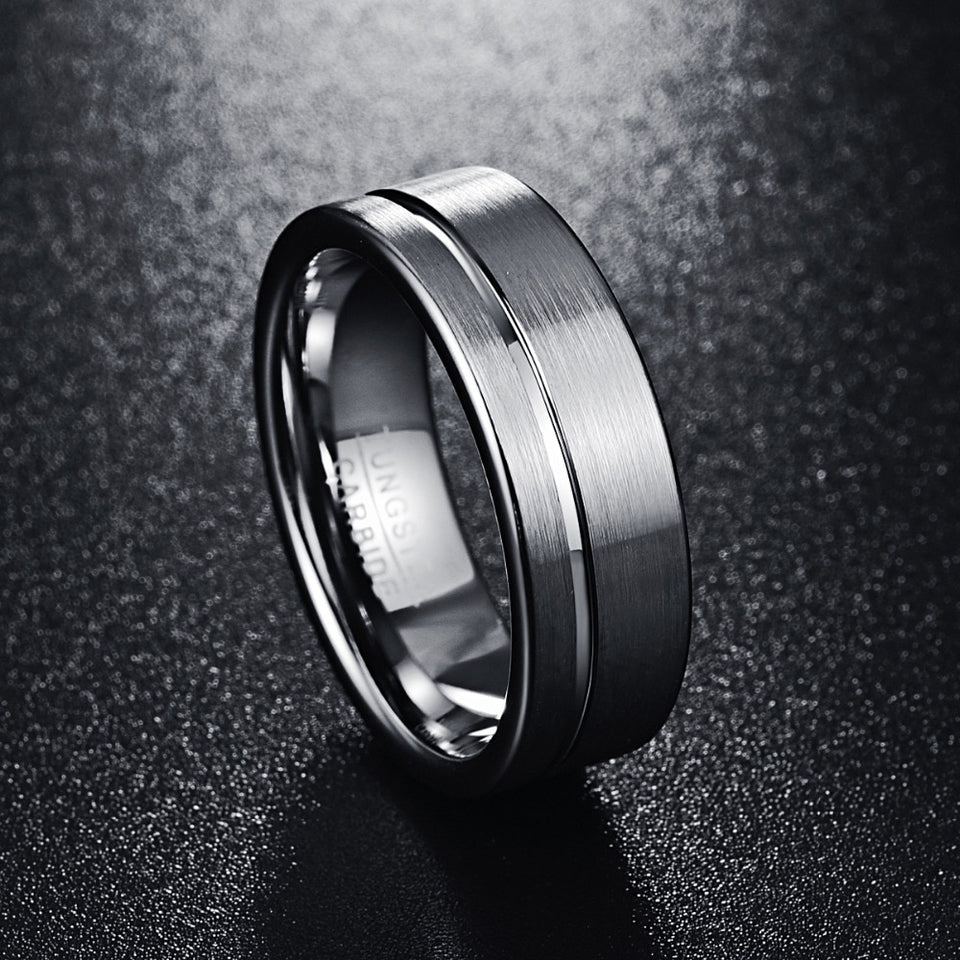 8mm Brushed Matte Pure Tungsten Carbide Wedding Rings - Innovato Store