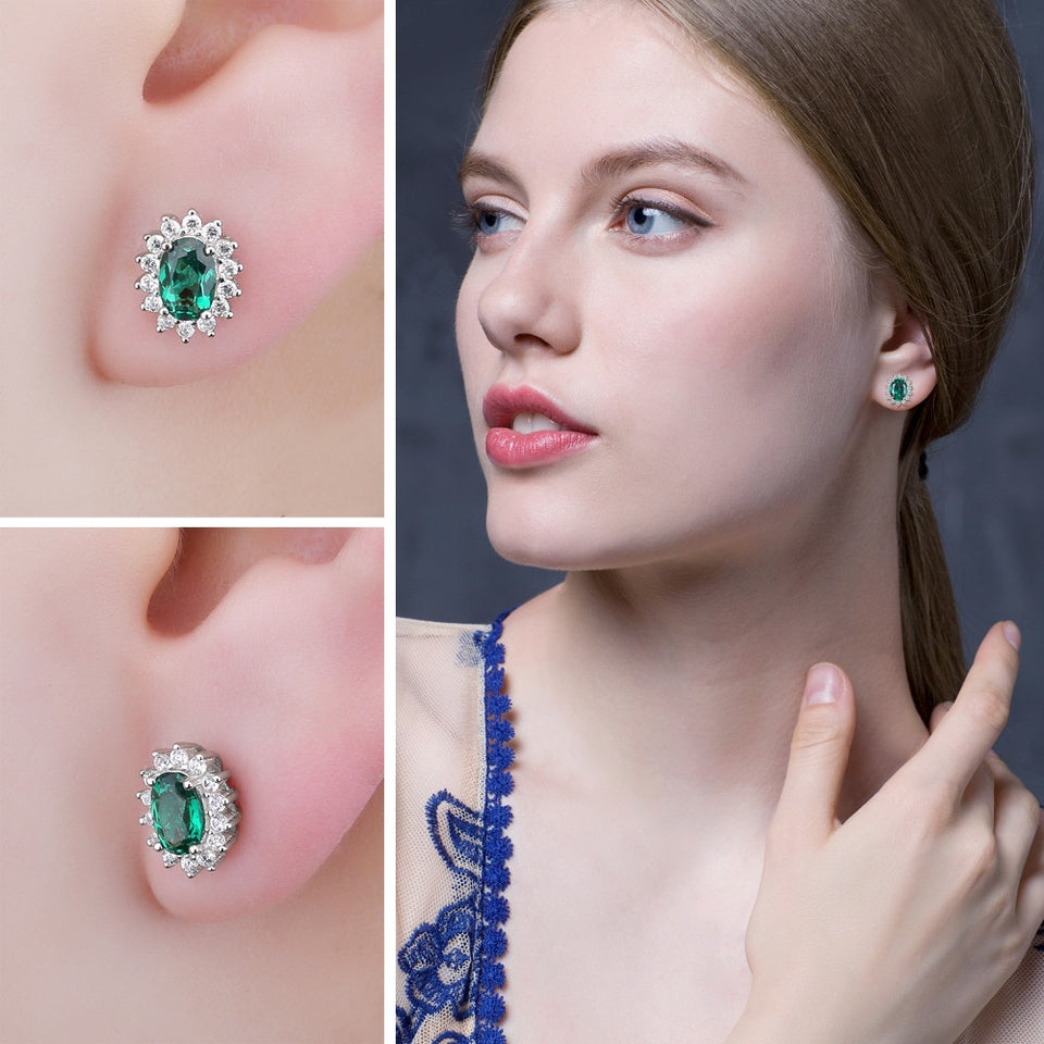 1.5ct Blue Created Emerald Stud Earrings 925 Sterling Silver - Innovato Store