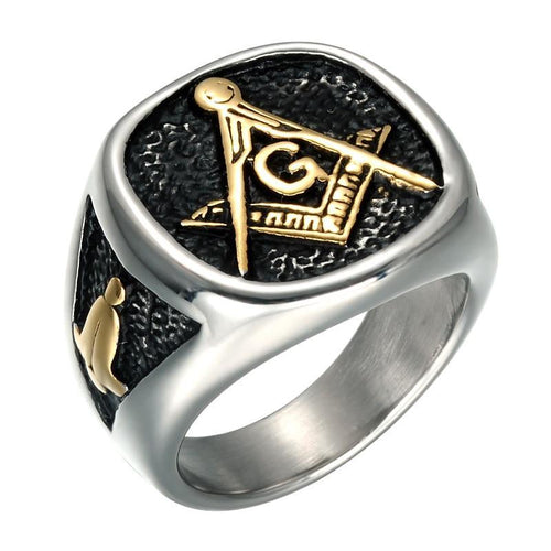 Titanium Stainless Steel with Black Inlay and Gold Color Masonic Symbols