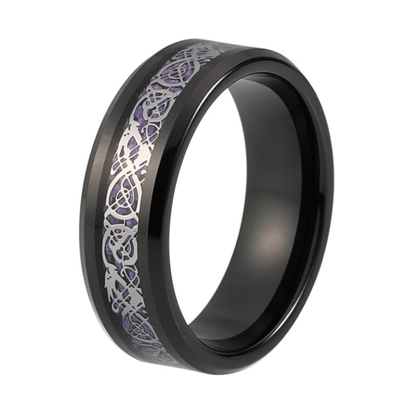 Silver Plated Dragon Inlay over Purple Carbon Fiber Tungsten Carbide Wedding Ring
