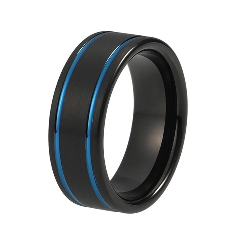 8mm Double Blue Strip with Black Tungsten Carbide Ring - Innovato Store