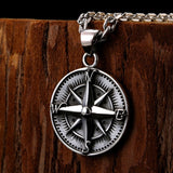 925 Sterling Silver Round Vintage Compass Pendant