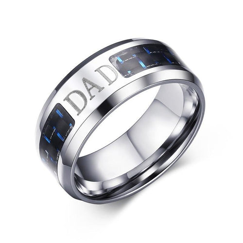 8mm Stainless Steel Flat Cut Ring with Blue and Black Carbon Fiber Inlay Dad Ring