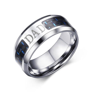 8mm Stainless Steel Flat Cut Ring with Blue and Black Carbon Fiber Inlay Dad Ring - Innovato Store